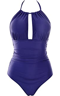 Aidonger Damen Badeanzug Bauchweg Tief V Ausschnitt Rückenfrei Figurformend  Monokini (Blau, 2XL) 1eb12bcefc