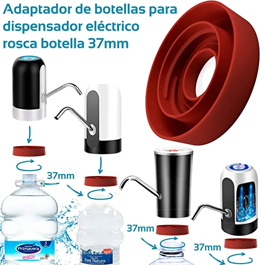 MovilCom® - Adaptador de Botella para dispensador de Agua Eléctrico Compatible con Botellas 5, 6, 8, 10, 12 litros | para Botellas o adaptadores con diámetro 37mm (37mm): Amazon.es: Hogar