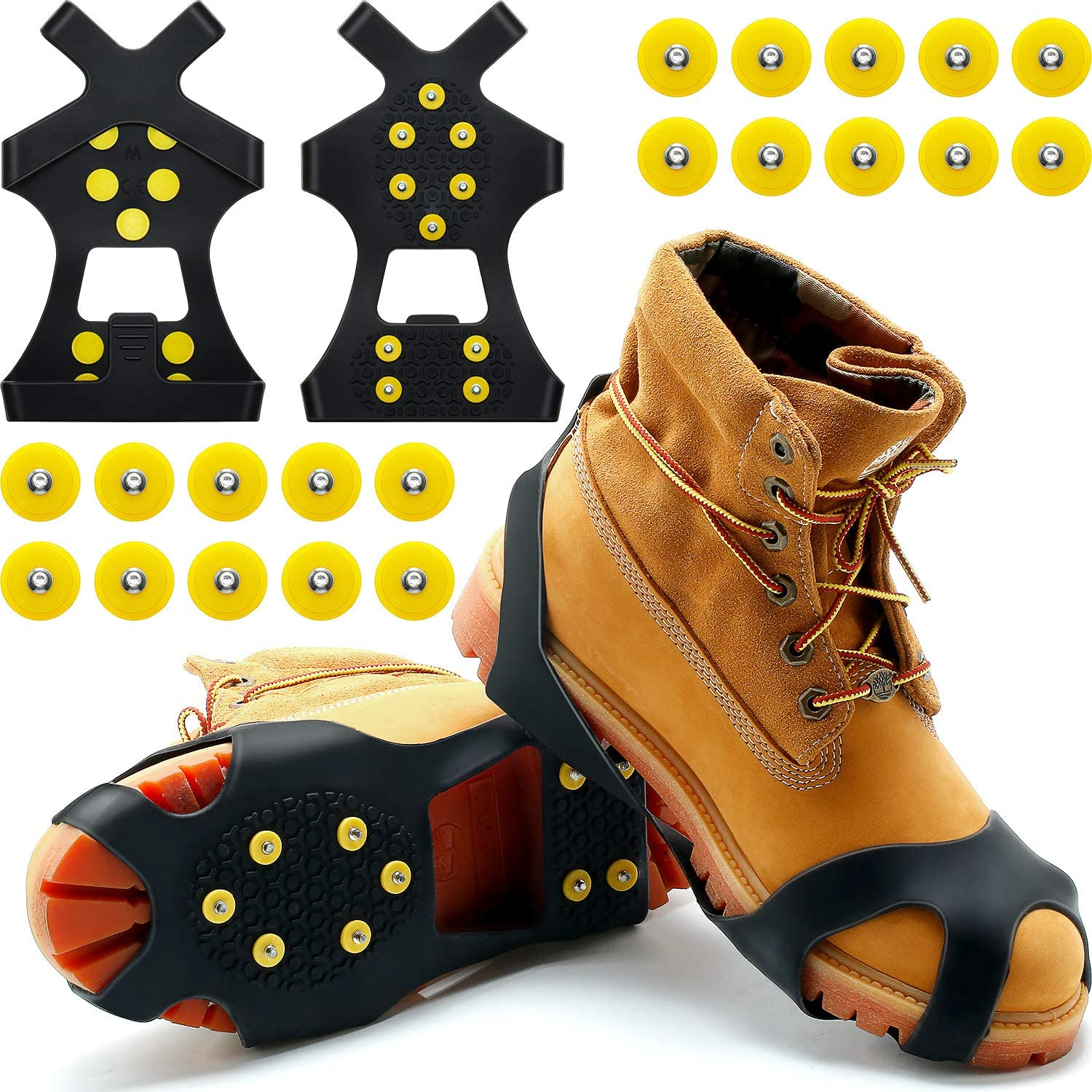 SATINIOR Ice Cleats Snow Grips Boot Traction Cleat Footwear Anti Slip 10 Steel Studs