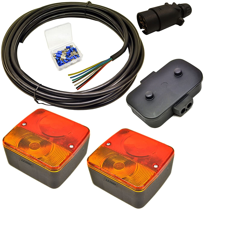 Kit de cableado de las luces del remolque - pequeñ as luces, tapó n, Caja de empalmes, 5m de cable, terminales tapón AB Tools