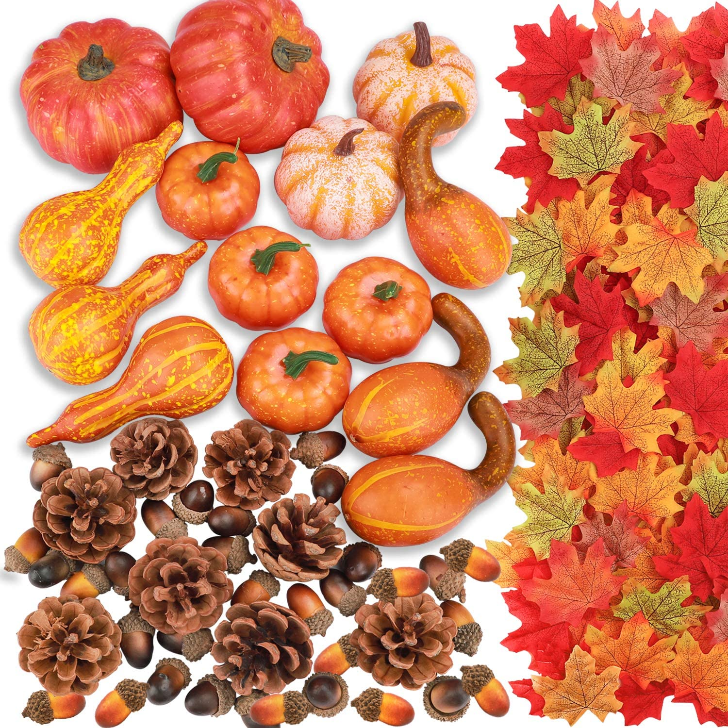 FUNARTY 142pcs Assorted Artificial Pumpkins Kits, Harvest Pumpkins and Gourd, Pine Cones, Acorns, Maple Leaves for Autumn Thanksgiving Halloween Festival Decor