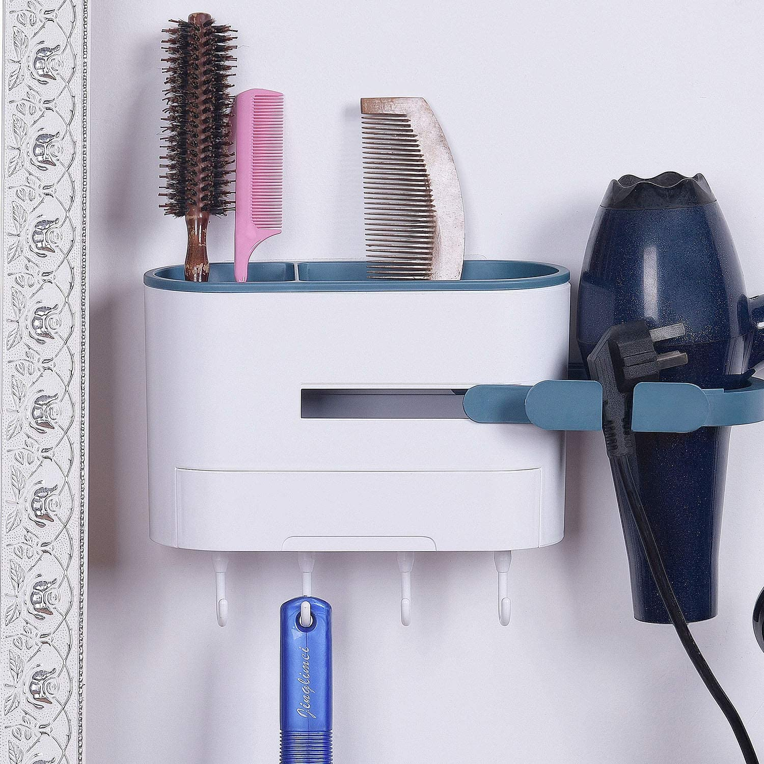 Wall Mounted Hair Dryer Holder, No Drilling, Adhesive Styling Tool Organizer Multi-Functional Space Saving Storage Rack for Bathroom, with Drawer and 4 Hooks (Dark Blue)