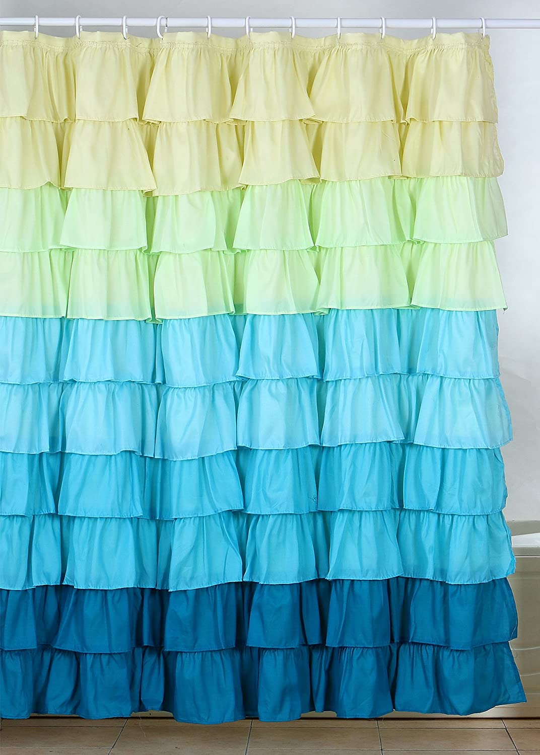 Amazon.com: Lavish Home Spring Ruffle Shower Curtain with ...
