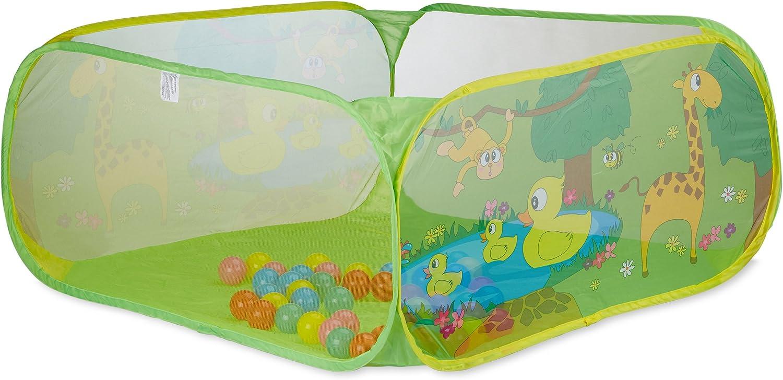 Relaxdays Piscina Bebés con 50 Bolas, Pop Up, A Partir de 6 Meses, Poliéster, 50 x 110 x 110 cm, Verde, Color (10022475)