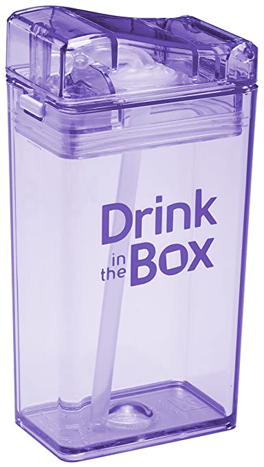 Drink in the Box Eco-Friendly Reusable Drink and Juice Box Container by Precidio Design (8oz, Purple)