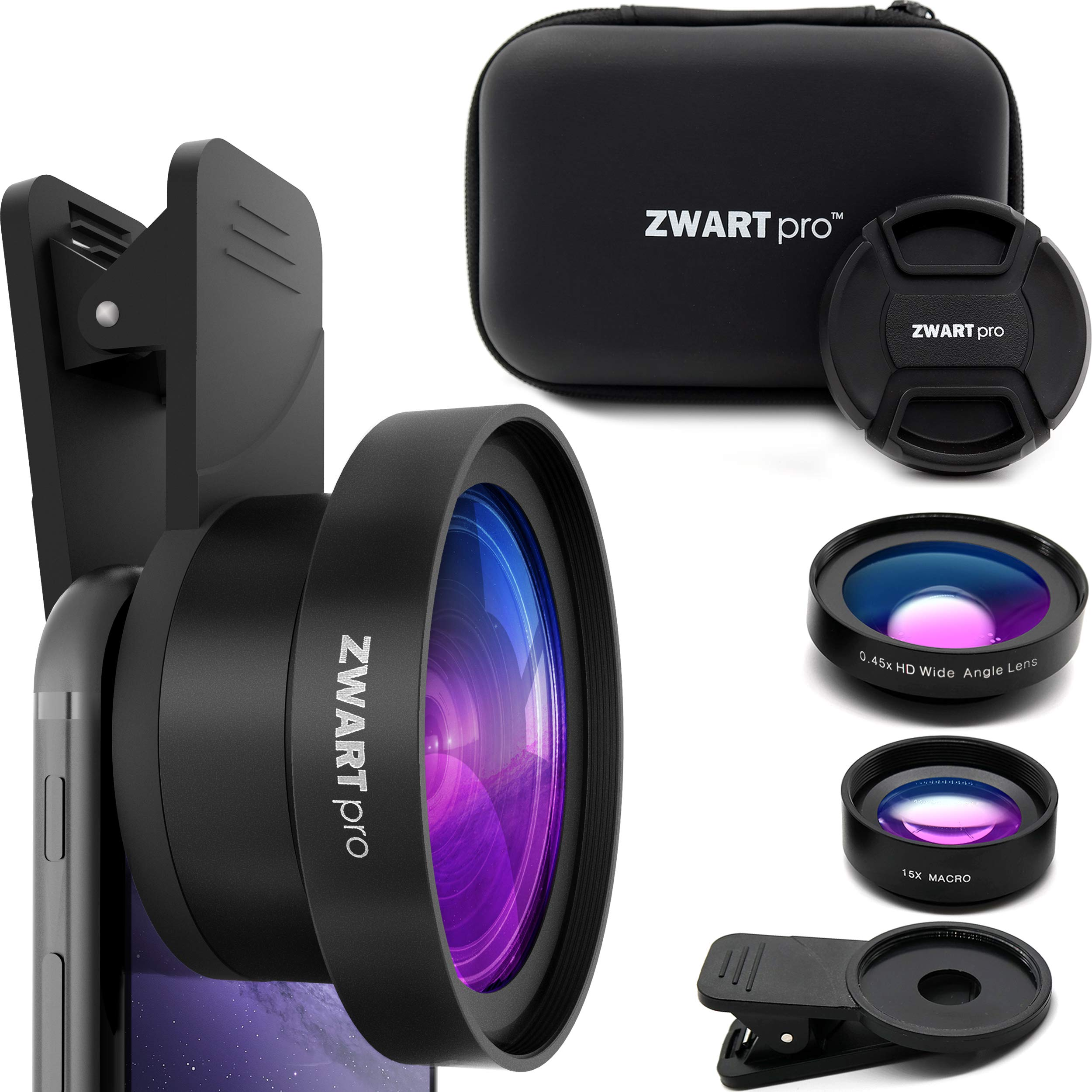 Cell Phone Lens Attachment | ZWARTpro 2 in 1 Wide Angle & Macro Camera Lens Kit for iPhone, iPad and Most Android Mobiles Phones & Tablets + Protective Case (Bigeye 53mm)