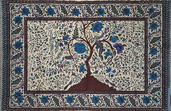 India Arts Cotton Tree of Life Tapestry Wall Hanging Floral Bed Sheet Thin Lightweight Bedspread Tablecloth Rectangle Beach Sheet Dorm Decor Off-White, Full 88 x 104 inches