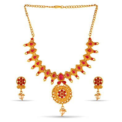 c9754fa355d24 Buy Variation Gold Plated Ruby Necklace Set for Women Online at Low ...
