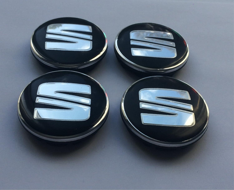 Juego de 4 tapas para ruedas, color negro y plateado: Amazon.es: Coche y moto