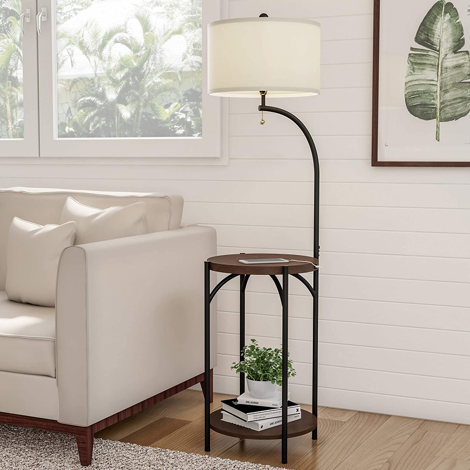 Lavish Home A1000B2 Floor Lamp End Modern Rustic Side Table with Drum Shaped Shade, LED Light Bulb Included, USB Charging Port and Storage Shelf, Various