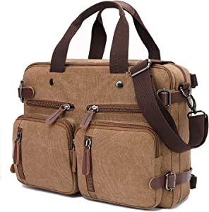 Convertible Laptop Backpack 17.3 Inch Messenger Bag for Men/Women(17.3 Inch, Coffee)
