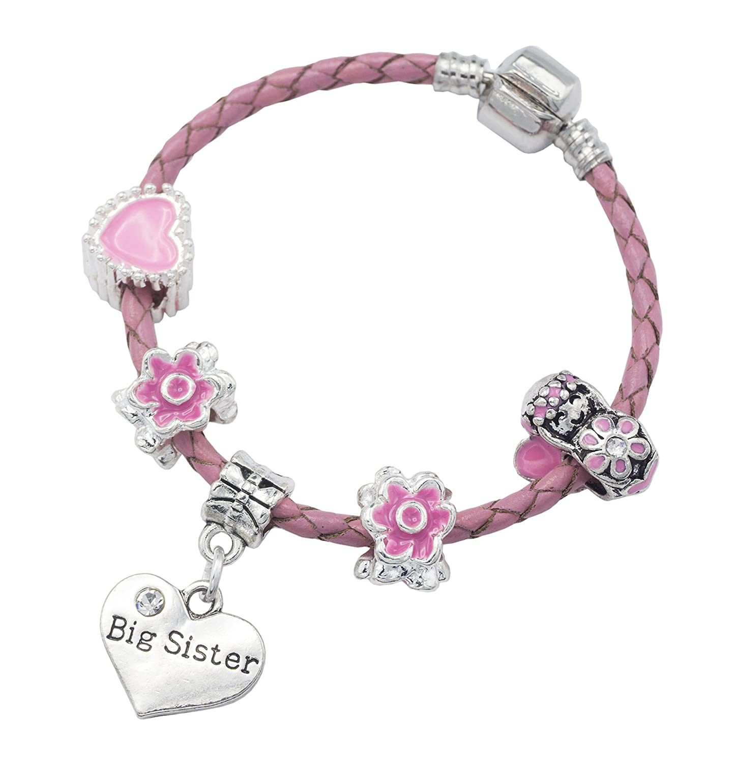 'Big Sister' Pink Leather Charm Bracelet for Girls Presented in High Quality Gift Pouch Jewellery Hut BRPNKLTBIGSISTER