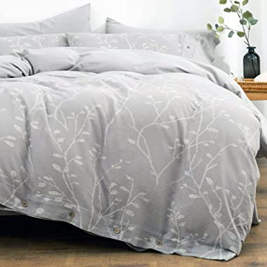 OREISE Duvet Cover Set King Size Washed Cotton Yarn, Jacquard Gray and White Thick Branch Pattern Floral Style 3Piece Bedding Set