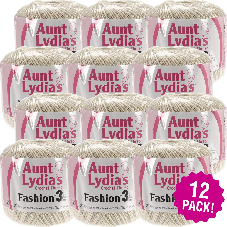 Aunt Lydia's 96906 Fashion Crochet Thread Size 3 12/Pk-Bridal White, Pack