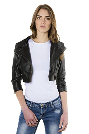 1a4b26d20b9 Fiamma • Black Color • Nappa Lamb Short Leather Jacket Smooth Effect at  Amazon Women s Coats Shop