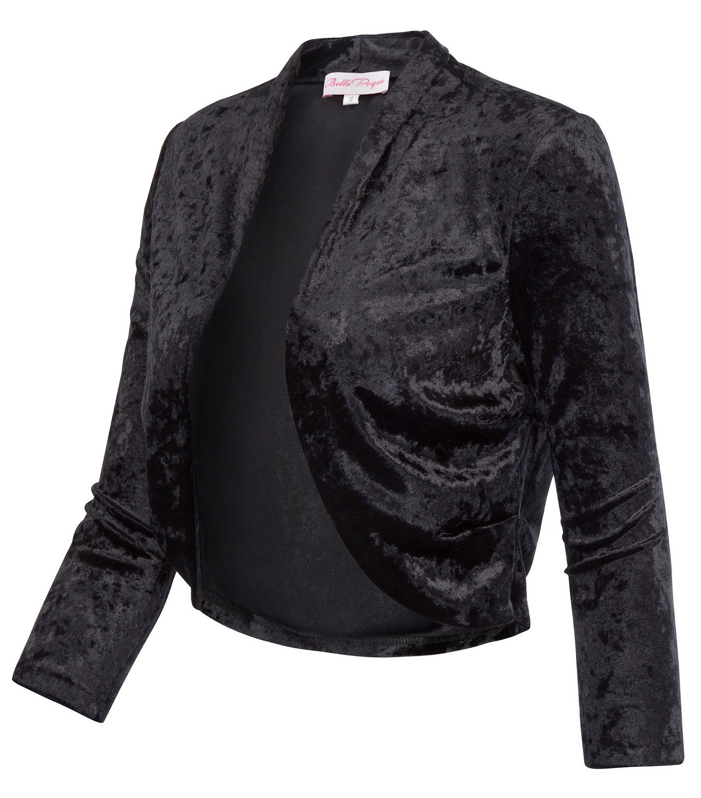 Solid Sleeves Bolero Outerwear Open Front for Teen Girls (L,Black 513-1) by JS Fashion Vintage Dress (Image #5)