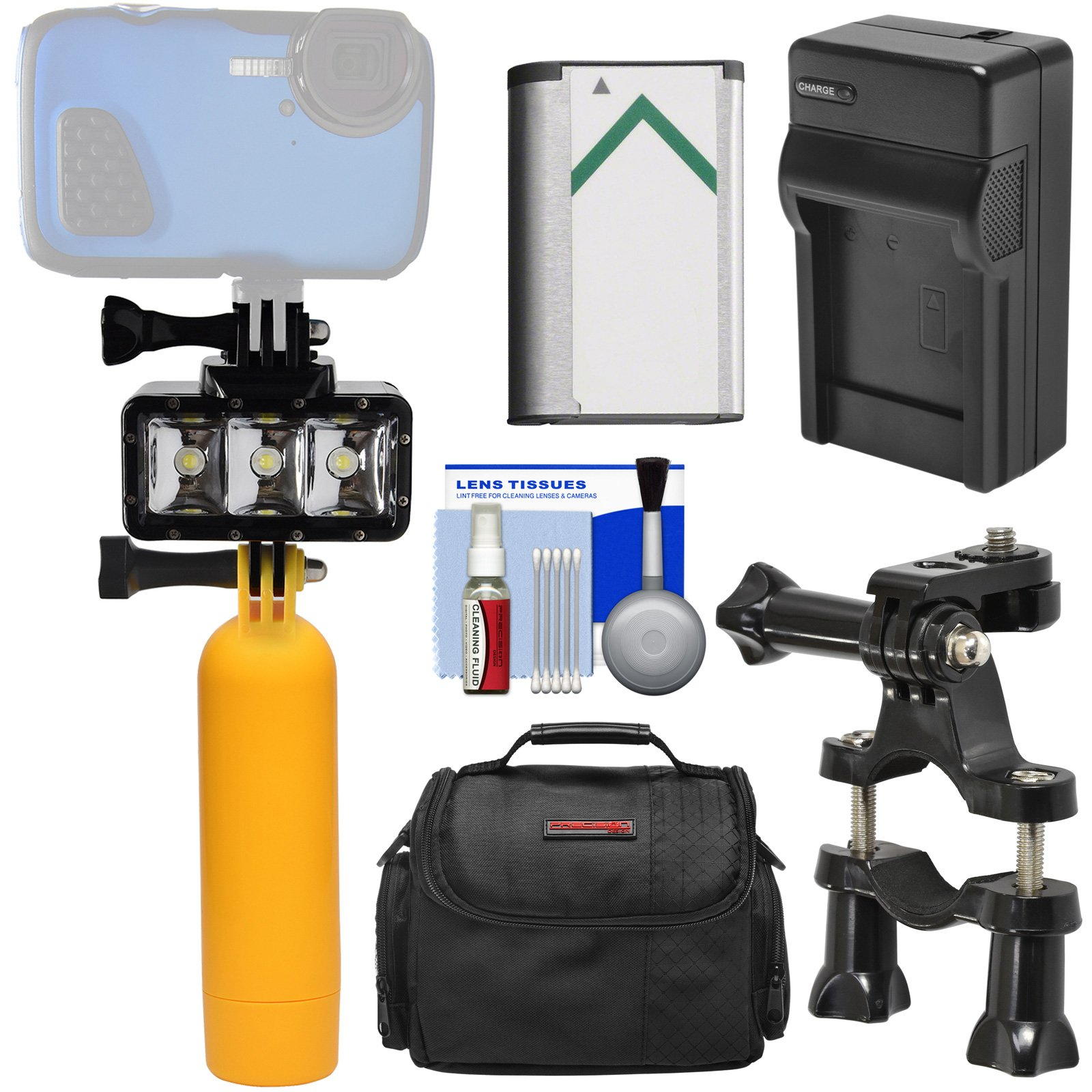 Precision Design WPL40 Waterproof Underwater Diving LED Video Light + Buoy + Bike Mount + Battery & Charger + Case Kit for Sony HDR-AS50, AS300, FDR-X1000V & X3000 Action Cameras by Precision Design