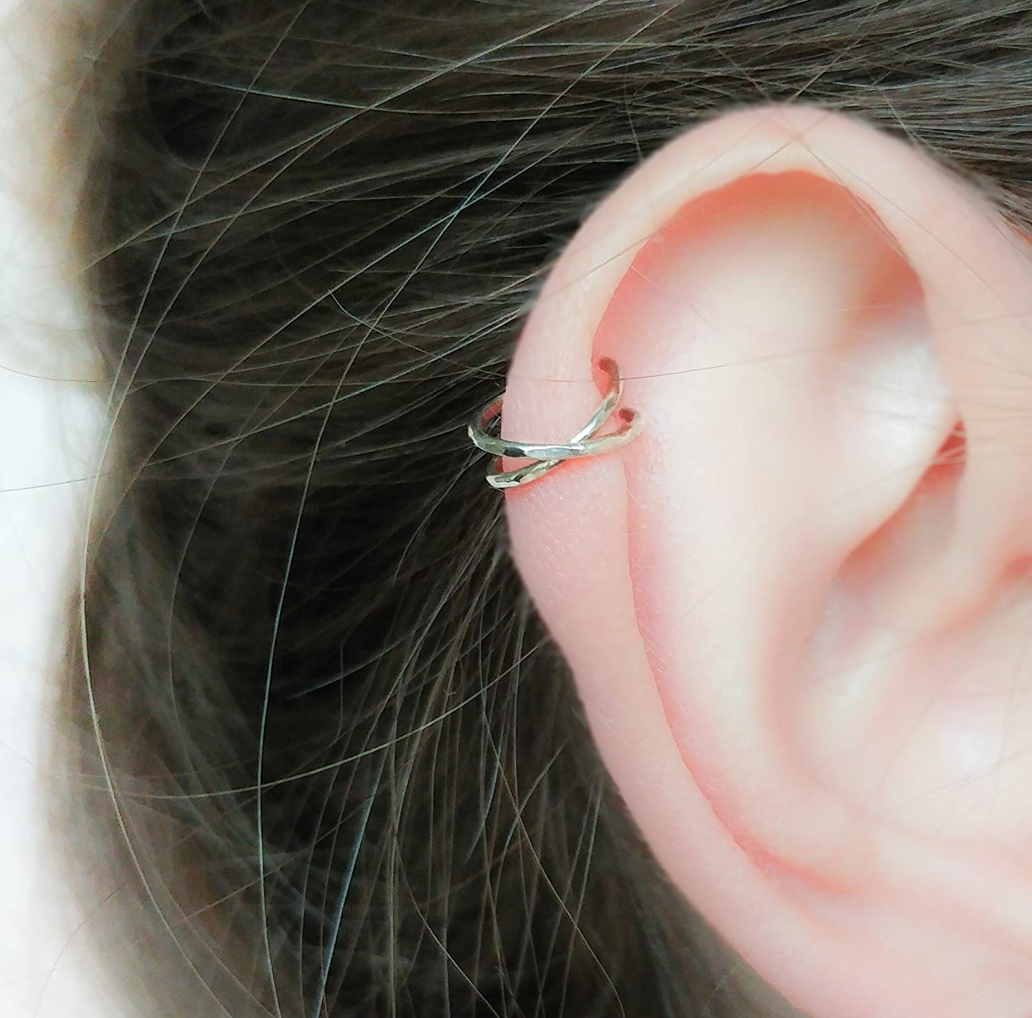 Ear Cuffs No Piercing Hammered Cross Ear cuff Fake helix earring Silver Gold Rose helix Ear wrap X ear cuff