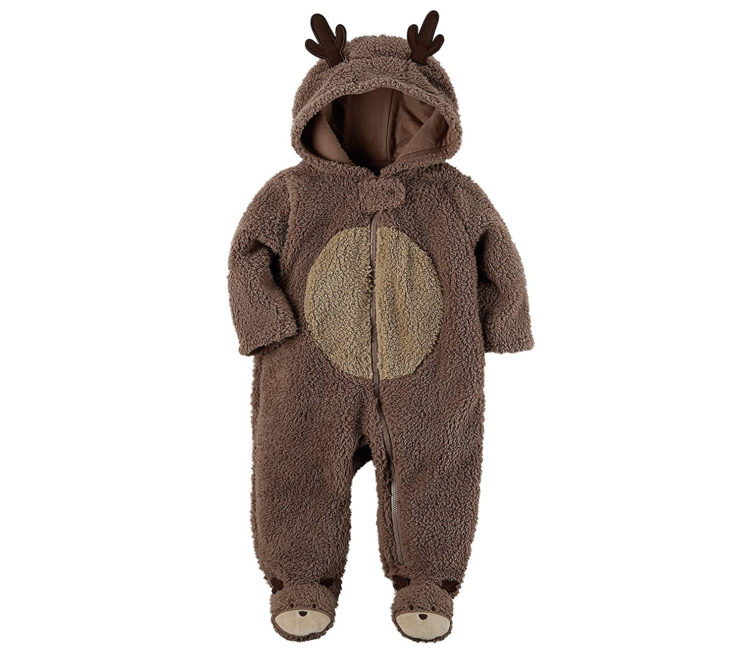Carter's Baby Short Sleeve Hooded Sherpa Reindeer Jumpsuit