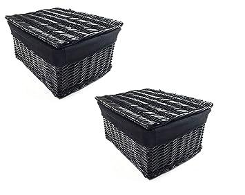 2 X Schwarzschwarz Geflecht Aufbewahrungskorb Mit Deckel