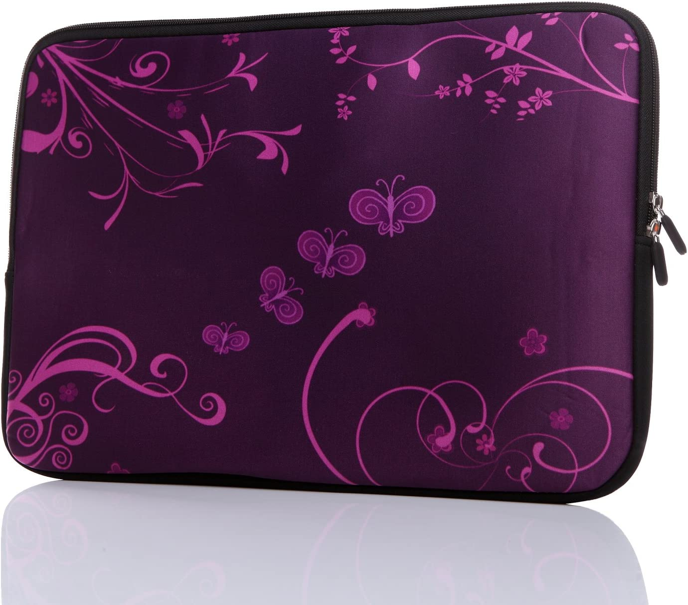 "13.3-Inch to 14-Inch Laptop Neoprene Sleeve Case with Hidden Handle for 12.9 13 13.3 14 14.1"" Inch Men Women Ultrabook/Chromebook/Tablet/Netbook (13.3-14 Inch, Purple Butterfly)"