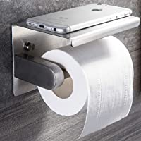 Yigii Toilet Paper Holder with Shelf Wall Mounted for Bathroom Brushed