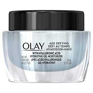 Face Moisturizer by Olay, Age Defying Advanced Gel Cream Moisturizer with Hyaluronic Acid for Dry Skin, 50 Ml, 1.7 Fluid Ounce