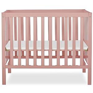Dream On Me Edgewood 4-in-1 Convertible Mini Crib in Dusty Pink (634-DPNK)