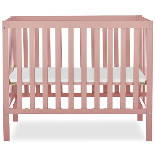 Dream On Me, Edgewood 4-in-1 Convertible Mini Crib, Dusty Pink