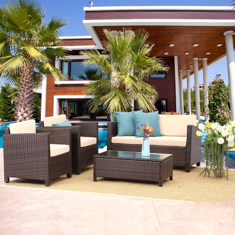 Amazon com wisteria lane outdoor patio furniture set 4 piece conversation set wicker sectional sofa loveseat chair brown wicker beige cushions garden