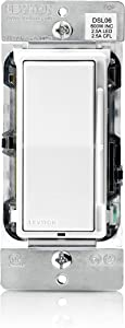 Leviton DSL06-1LZ Decora Universal Rocker Slide Dimmer, 300-Watt LED and CFL/600-Watt Incandescent/Halogen, White w/ Color Change Kits Included