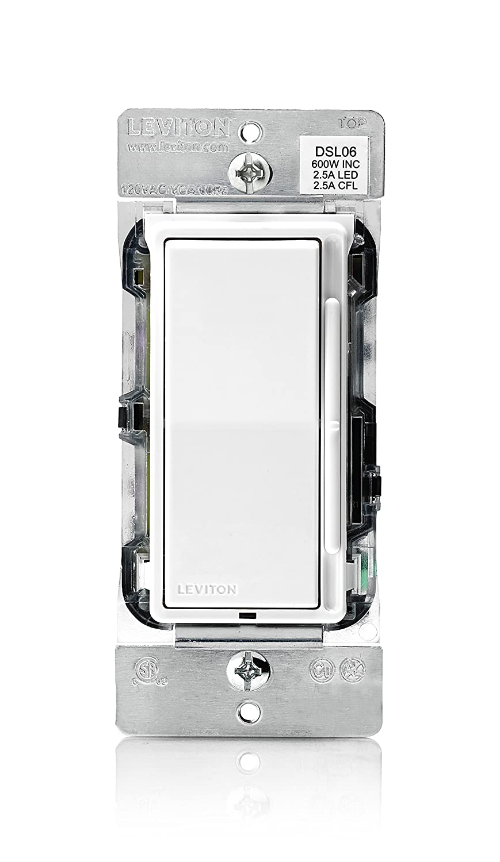 Leviton DSL06-1LZ Decora Universal Rocker Slide Dimmer, 300-Watt ...