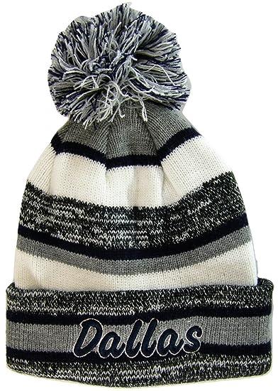 66e7c261440 Dallas Adult Size Tri-Color Winter Knit Pom Beanie Hats (Gray Navy Script