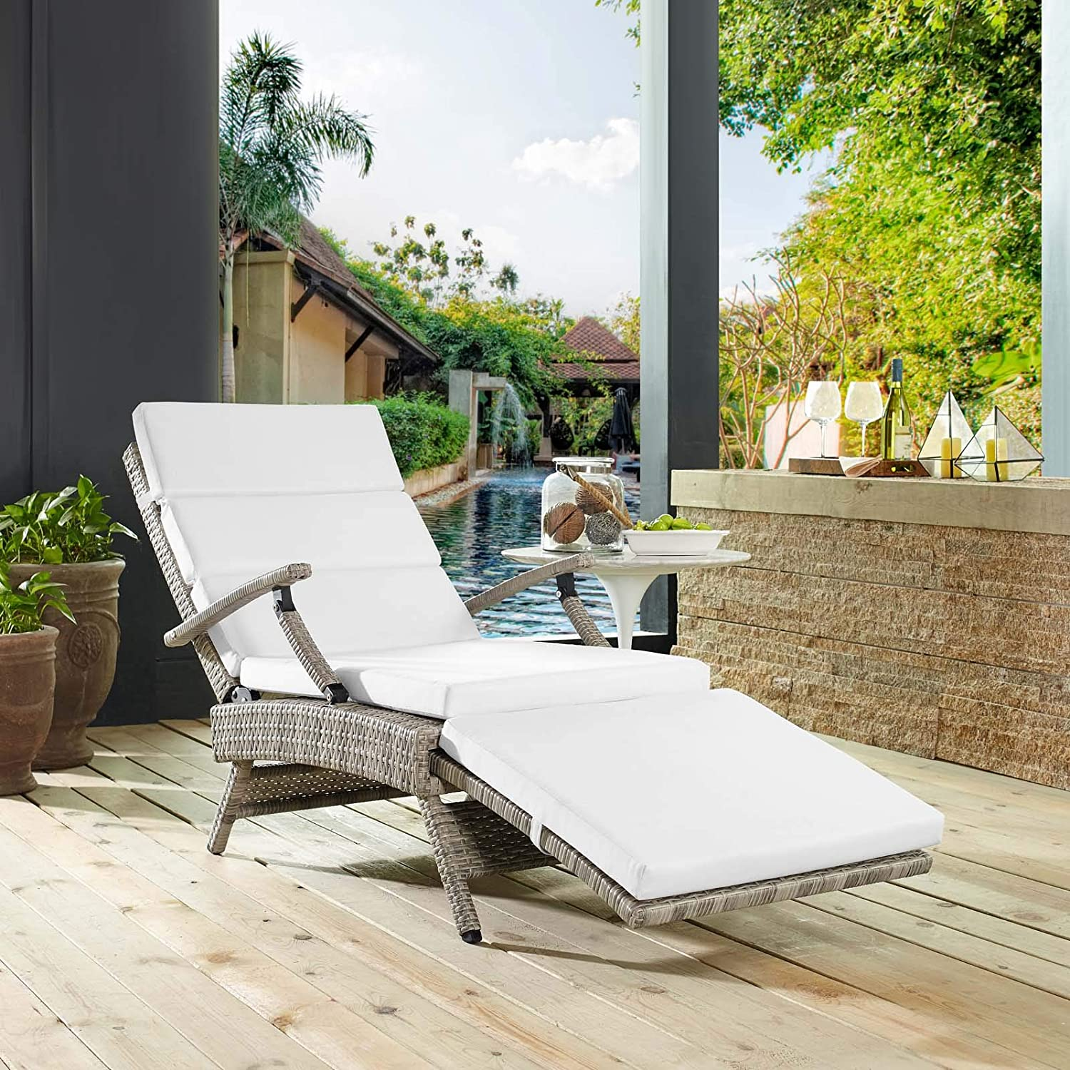 Modway Envisage Outdoor Patio Wicker Rattan Chaise Lounge in Light Gray White