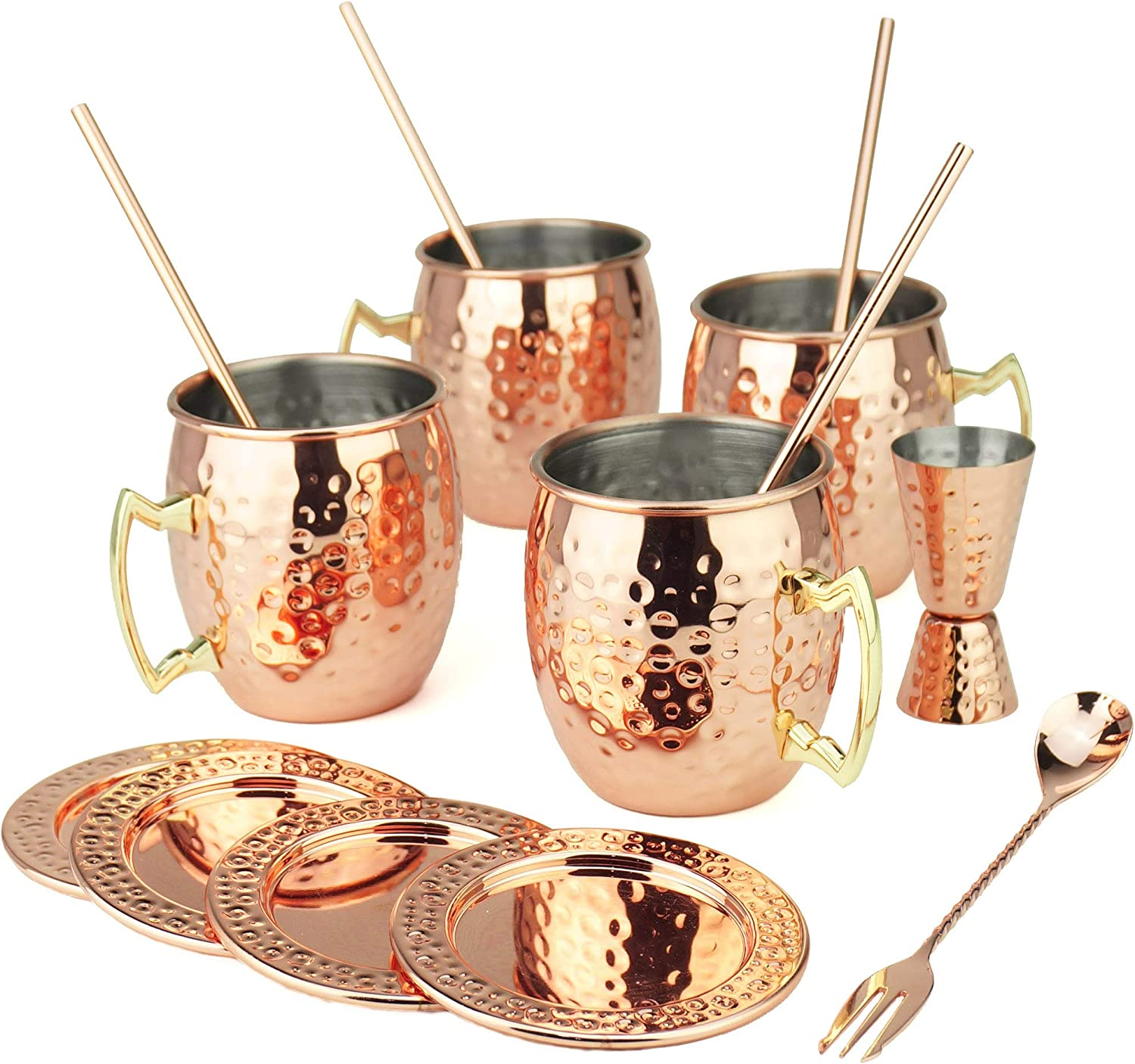 PG Moscow Mule/Cocktail Bar Set, 15-pc Copper/Rose Gold Color, High Grade SS, w/4x Moscow Mule Mugs, 4x Straws w/cleaner, 4x REAL STAINLESS Coasters, 1x Double-Jigger 1x Double-head Stirrer