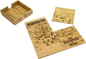 Totally Bamboo Washington State Puzzle 4 Piece Bamboo Coaster Set with Case