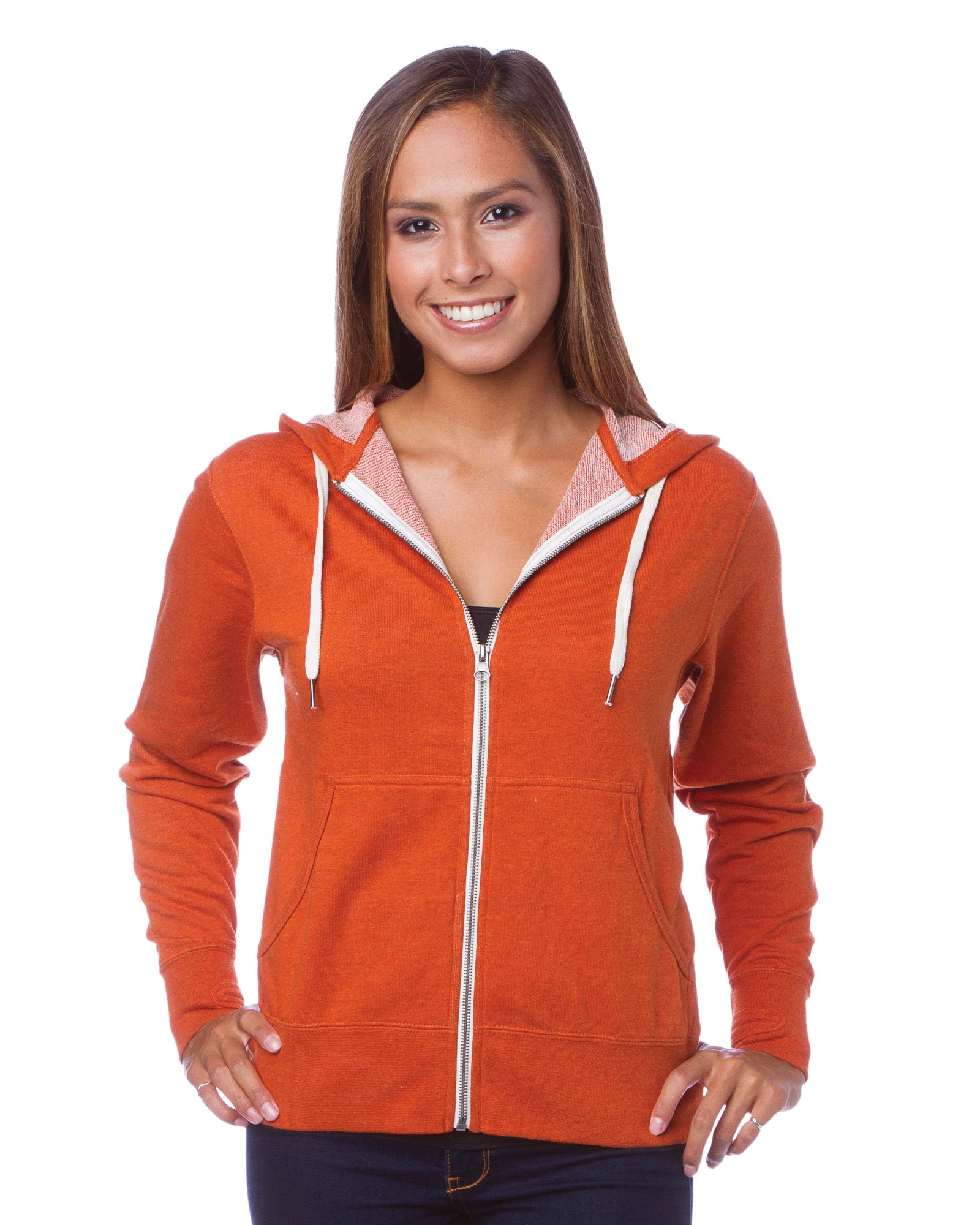 Global Blank Slim Fit French Terry Lightweight Zip up Hoodie for Men and Women XS Rust Orange by Global Blank