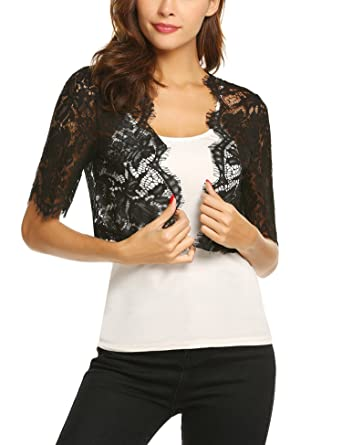 7f1c757776 Dealwell Women s Short Sleeve Floral Lace Bolero Shrug Open Front Cardigan  (Black
