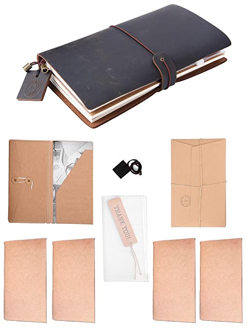 Traveler&more Leather Refillable Travel Journal with 4 Paper Blank Notebooks 1 Zipper Pouch & Card Sleeve 1 Kraft File Folder, Black