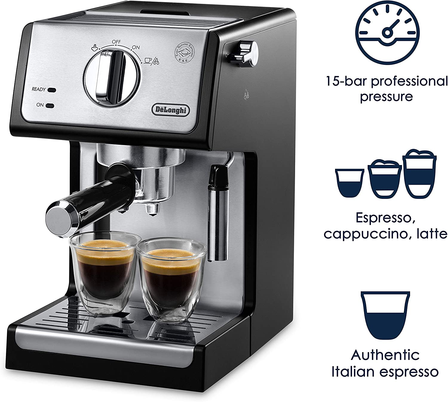 DeLonghi ECP3420 15 Bar Pump Espresso and Cappuccino Machine, Black by DeLonghi: Amazon.es: Hogar