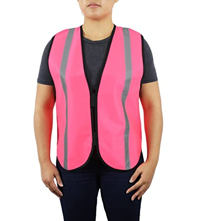 dd5857d9ff6bf Safety Depot Pink Reflective Safety Vest with Pockets and Velcro Closure Hi  Visibility Non Ansi Petite - - Amazon.com