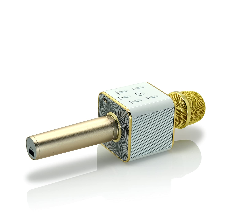 iprotect kabelloses Bluetooth Mikrofon mit Integriertem Lautsprecher und 5 Tasten zur Tonregelung – Karaoke Mic Wireless für iOS und Android in Gold
