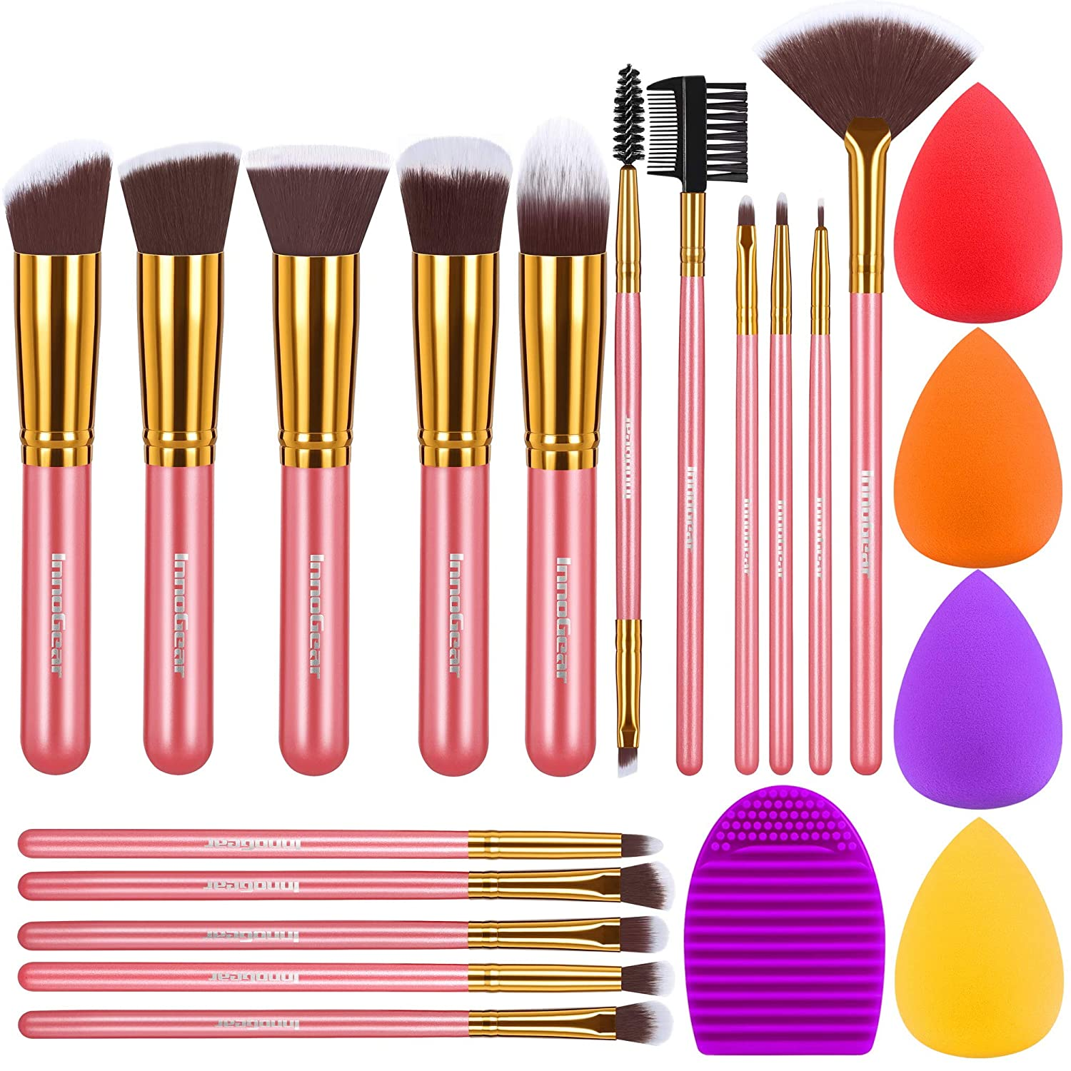 InnoGear Makeup Brushes Set, Professional Cosmetic Brush Set with 16 Makeup Brushes and Sponges and Brush Cleaner for Foundation Powder Concealers Eyeshadows Liquid Cream, Golden Pink