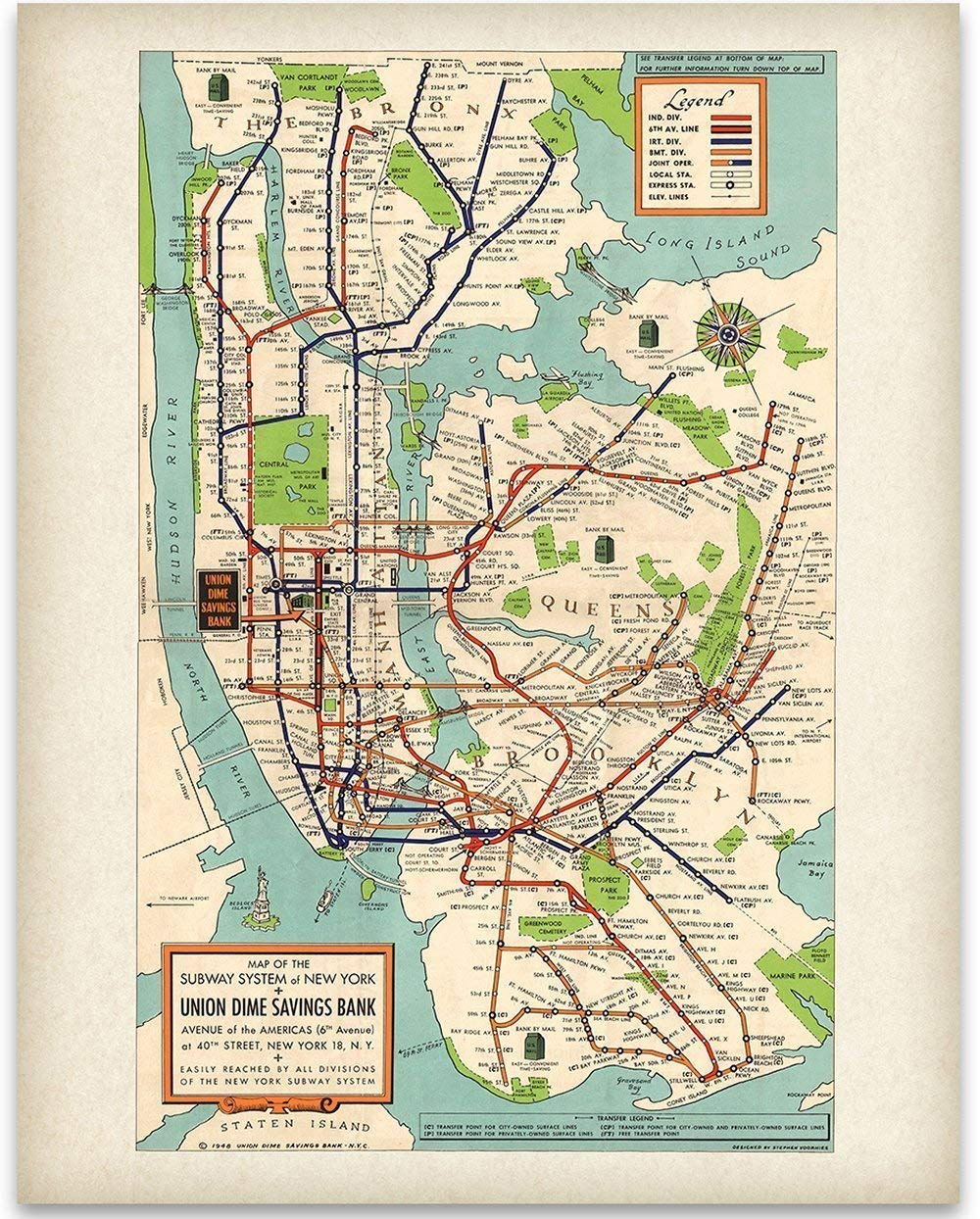 Vintage New York City Subway Map.Details About New York Subway Map 1948 11x14 Unframed Art Print Great Vintage Home Decor