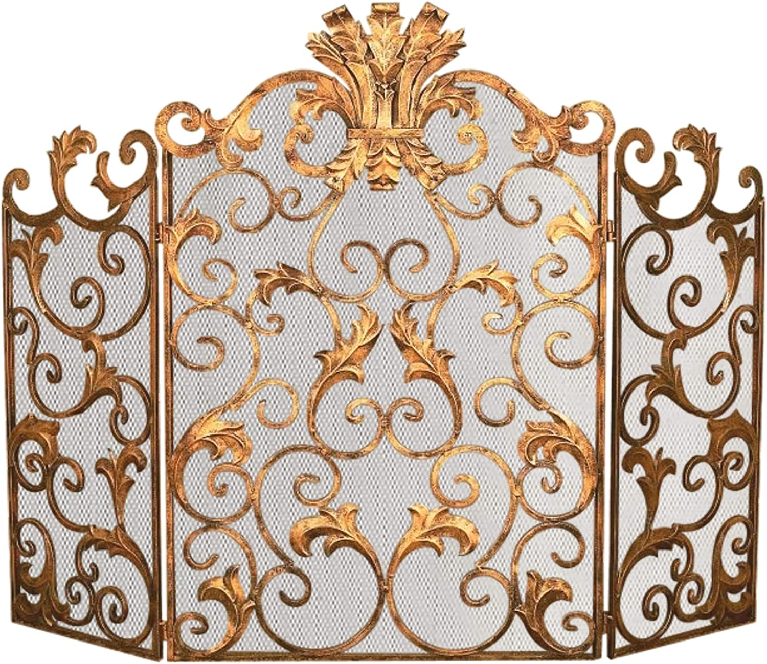 MY SWANKY HOME Ornate Gold Acanthus Leaf Scroll Firescreen Iron Fireplace Screen Mesh