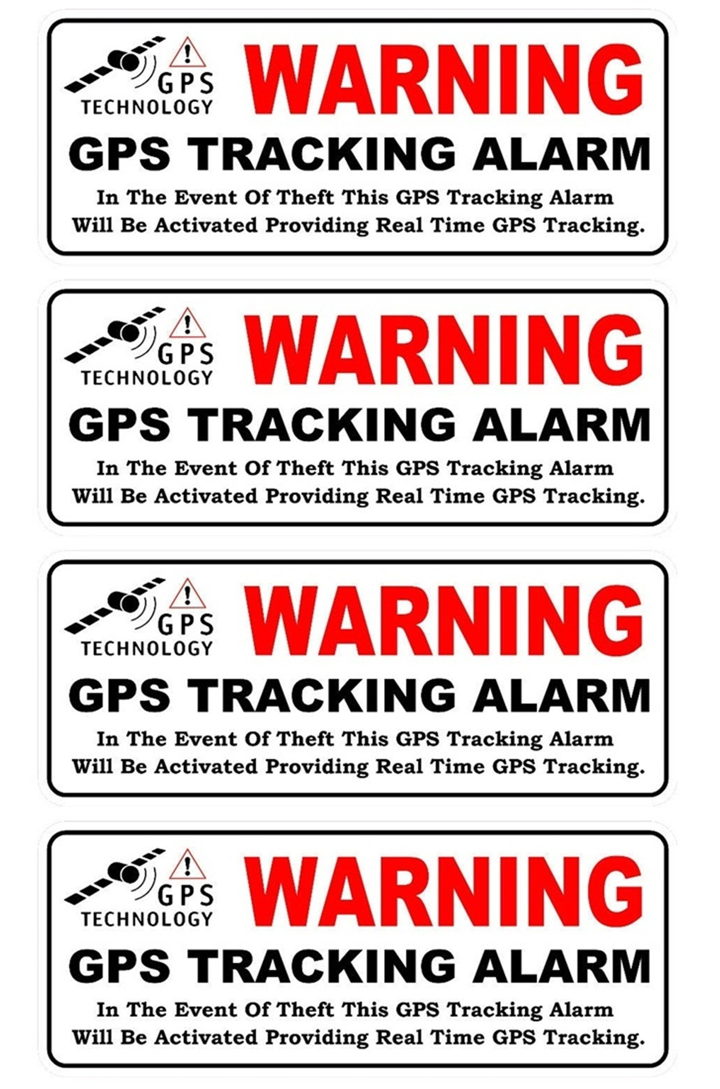 4 Pc Glittering Unique Warning GPS Tracking Alarm Technology In The Event of Theft This Will be Activated Providing Real Time Back Adhesive Stickers Sign Surveillance Trespassing Signs Size 4.5''x1.5''
