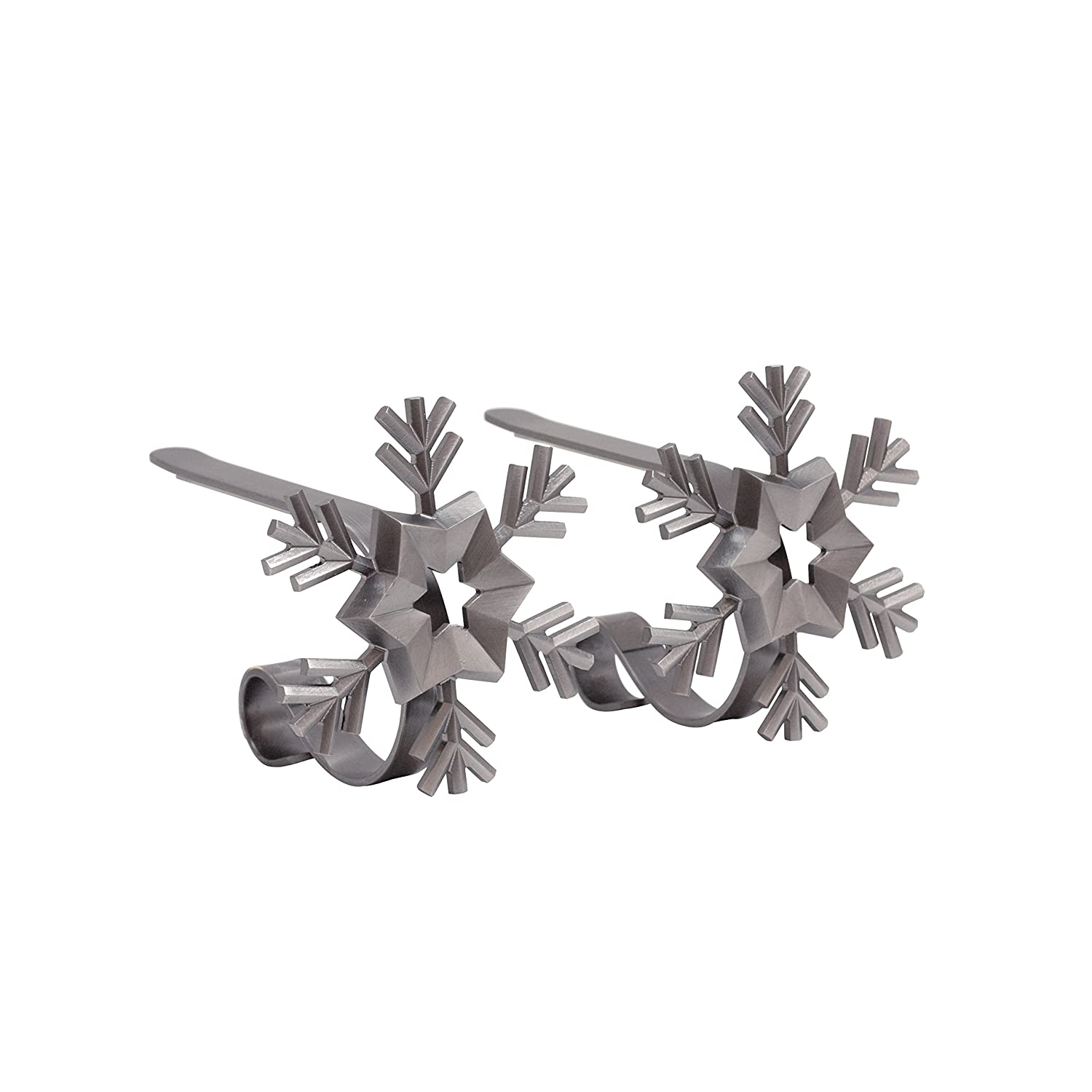2-Pack Christmas Tree, Silver Haute Decor MantleClip Stocking Holders with Removable ZINC Alloy Holiday Icons