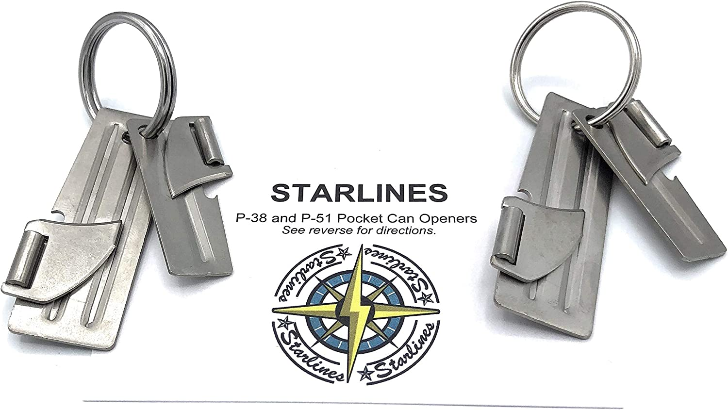 Two Sets of P-38 and P-51 Military Can Openers, Made in USA, with Stainless Steel Key Rings (6-piece bundle)