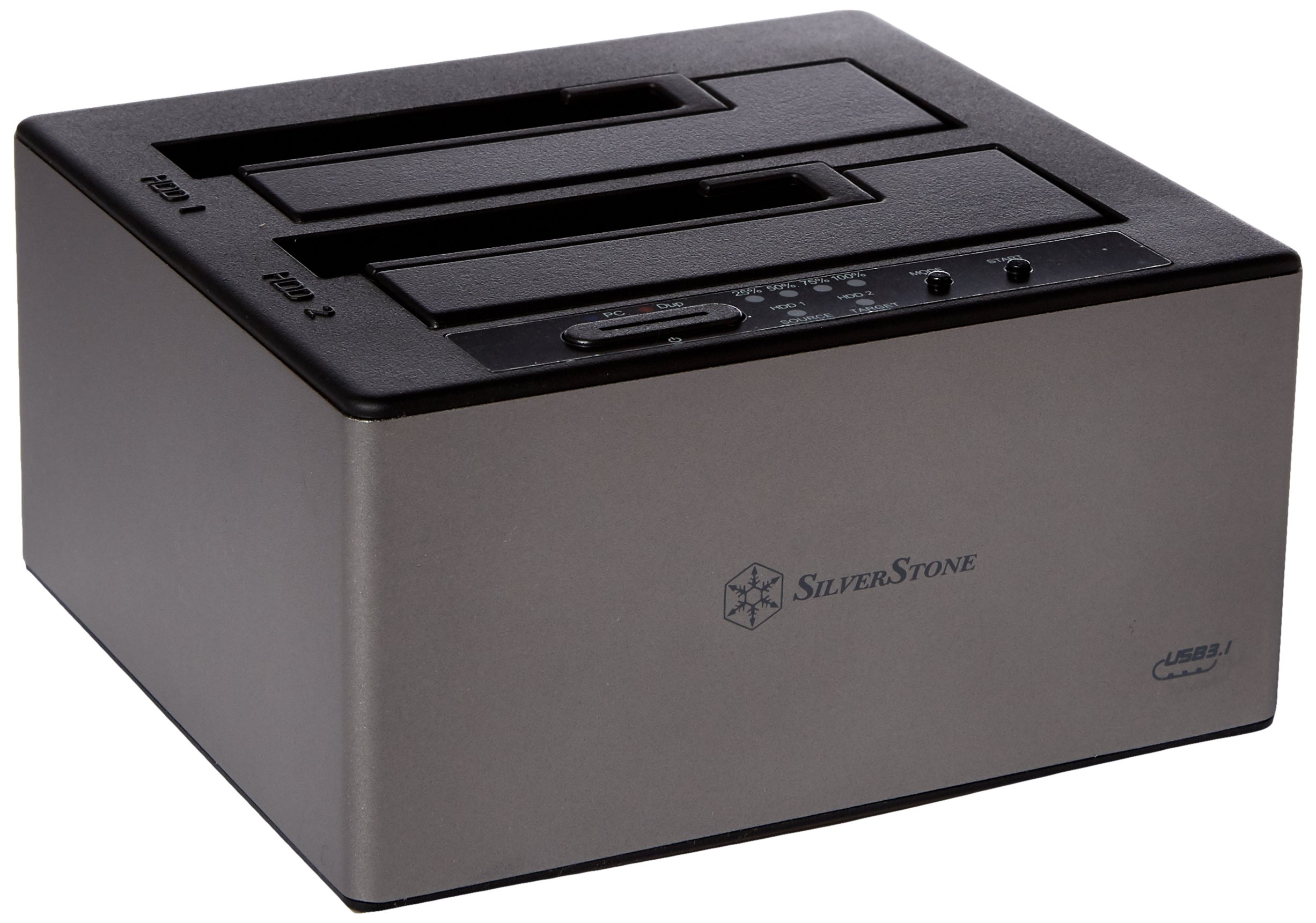 SilverStone Technology 3.5'' and 2.5'' External Hard Drive Dock with USB 3.1 Type- C Gen 2,  Supports Offline Clone and JBOD modes with Hot-Swap TS12C