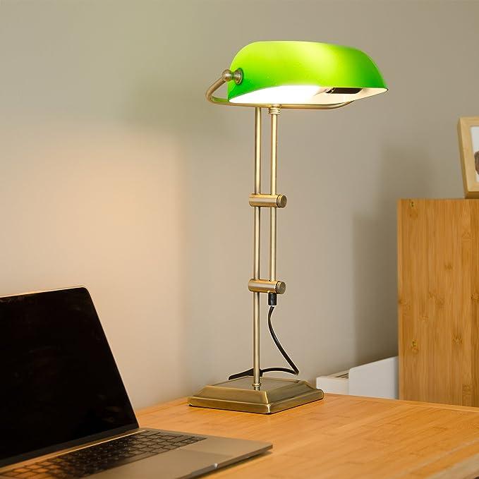 Relaxdays Lámpara de Mesa, Diseño Banquero, Verde y Bronce ...